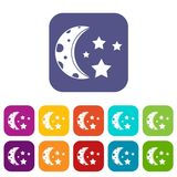 Starry night icons set flat Royalty Free Stock Photo