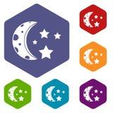 Starry night icons set hexagon Stock Image