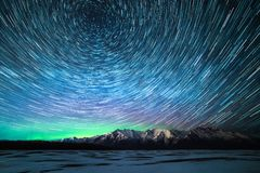 Starry Night at Knik River Valley stock photo
