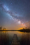 Starry night landscape Stock Images