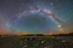 Starry night landscape Stock Photos