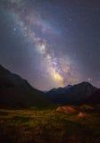 Starry night landscape Stock Image