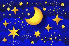 Starry night moon in clouds vector illustration