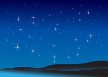 Starry Night. Night landscape with mountain and stars in the sky Royalty Free Stock Photo