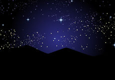 Starry Night. Night landscape with mountain and stars in the sky Stock Images