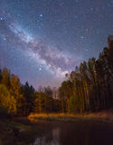 Starry night landscape stock photography