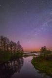 Starry night landscape Stock Photo