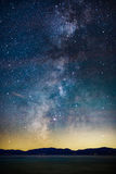 Starry Night and Milky Way above Lake Tahoe. Starry Night and Milky Way above the Sierra Nevada Mountains and Lake Tahoe, California stock images