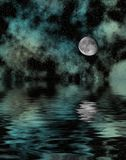 Starry Night With Moon. Reflected in water Royalty Free Stock Photos
