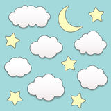 Starry night with moon and clouds Royalty Free Stock Image