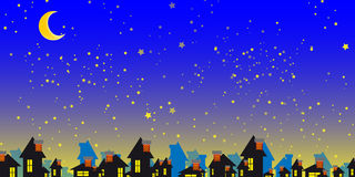 Starry Night. With moon and silhouettes of small houses Stock Images