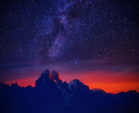 Starry night in mountain Royalty Free Stock Images