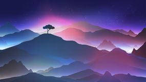 Starry Night in the Mountains with a Lone Tree - Vector Illustra Stock Photography