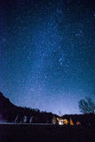 Starry night. Mt.Mizugaki in Yamanashi Japan Stock Image