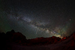 Starry Night over the canyon Bayanzag, Mongolia Stock Images