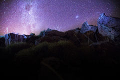 Starry night patagonia. Starry night Sky in patagonia Stock Photography