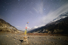 Starry night and Prayer Flags Royalty Free Stock Photography