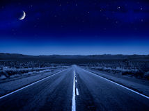 Starry Night Road Stock Photo