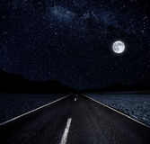Starry Night and The Road Stock Image