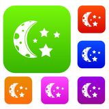 Starry night set color collection. Starry night set icon color in flat style isolated on white. Collection sings vector illustration Stock Image