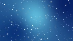 Starry sky animated background. Starry night sky animation made of sparkly light star particles moving across a blue teal gradient background stock footage