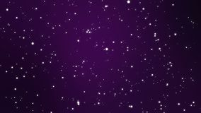 Purple night sky background with animated stars. Starry night sky animation made of sparkly white light particles flickering on a dark purple background stock video footage