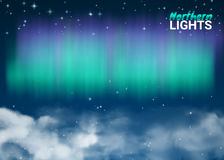 Starry Night Sky Aurora Beautiful Natural Effect for Design. Projects. Deep Night Dark Sky Magic Fabulous with Clouds and Realistic Colored Northern or polar Stock Image