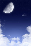 Starry night sky background. A starry night sky background with a comet and the moon, in blue and white tones Royalty Free Stock Photos