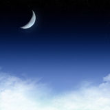 Starry night sky background. A starry night background with a comet and the moon, in blue tones Stock Photography