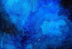 Starry Night Sky Blue Watercolor Illustration. Deep blue night sky with bright scattered stars watercolor hand drawn illustration Royalty Free Stock Photography