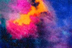 Starry Night Sky Blue Watercolor Illustration Stock Photography