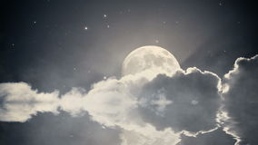 Starry night sky with clouds and full moon. Water reflection effect. Animation stock footage