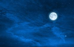 starry night sky design with the full moon , Elements of this image are furnished by nasa stock photography