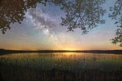 Starry night sky in a forest. Near the lake stock image