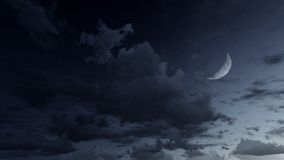 Starry night sky with a half moon Royalty Free Stock Images