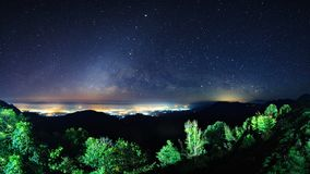 Starry night sky at Monson viewpoint Doi AngKhang and milky way Stock Image