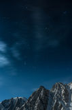 Starry night sky over the mountains of Kyrgyzstan Stock Photography