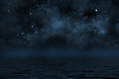Starry night sky with stars and blue nebula. Starry night sky illustration with stars and blue nebula, with reflection in water with waves Stock Image