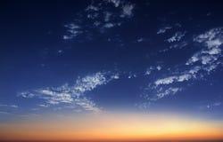 starry night sky with sunrise stock photos