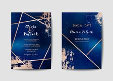 Starry Night Sky Trendy Wedding Invitation Card Set, Save the Date Celestial Template of Galaxy, Space, Stars stock illustration