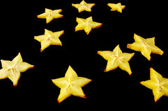 Starry Night. Starfruit on a black background. Stock Images