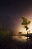 Starry night, the stars over the lake, green grass, trees illuminated by a flashlight Royalty Free Stock Image
