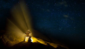 Starry Night Stone Man Stack Royalty Free Stock Photography