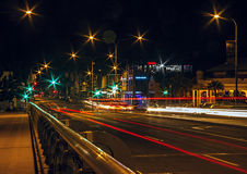 Starry night streets. Night time street in Mackay with traffic trails and starry lights Stock Image