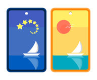 Starry Night and Sunny Day Sailing Bookmark Design Stock Photos