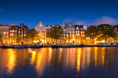 Starry night, tranquil canal scene, Amsterdam, Holland Royalty Free Stock Photos