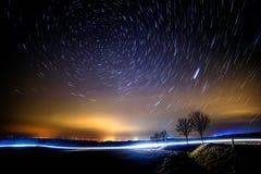 Starry Nightsky. With Polaris and traffic Stock Photo