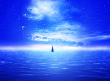 Starry ocean with air balloons. Magical evening with air balloons, stars and a sail boat Stock Photos