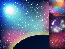Starry outer galaxy cosmic space illustration universe background sky astronomy nebula cosmos night constellation vector Royalty Free Stock Photos