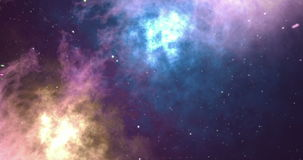 Starry outer space background with nebula. Colorful starry night sky outer space background, 3d animation